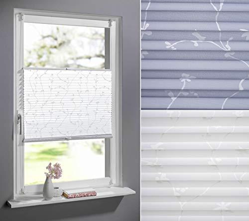 DECOLIA Klemmfix-Plissee verspannt, ohne Bohren oder Schrauben mit floralem Druckdesign, Breite/Höhe: 80 x 130 cm, Farbe: weiß