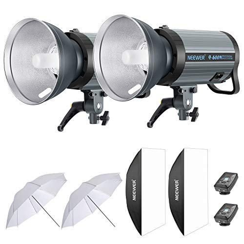 Neewer 1200W Studio Strobe Flash Photography Lighting Kit: (2) 600W Monolight with 2.4G Wireless Trigger,(2) Lampshade,(2) Softbox, (2) Reflector Umbrella for Shooting Bowens Mount(Q600N)