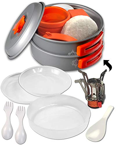 Camping Cookware Set - Mess Kit - 13 Pieces - Non-Stick Anodized Aluminum - Lightweight Folding Kit for Camping Hiking & Backpacking