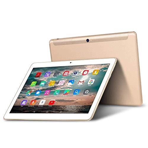 Tablet 10.1 Zoll 4G LTE Dual SIM - TOSCIDO Android 9.0 Zertifiziert von Google GMS,Quad Core,64GM eMMC,4GB RAM,Doppelt Lautsprecher Stereo,WiFi/Bluetooth/GPS,Inklusive Deutscher Anweisungen - Golden