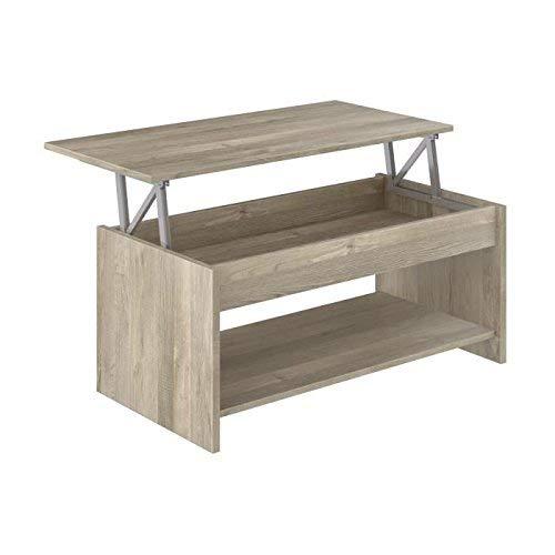 Marque Amazon -Movian - Table basse avec plateau relevable et petite étagère Aggol Modern, 50 x 100 x 44, Effet Chêne