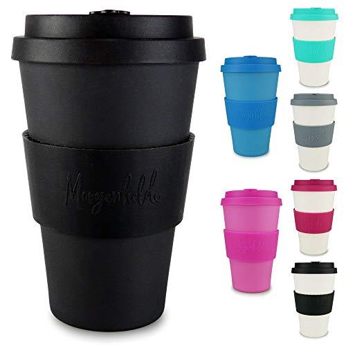 Morgenheld il tuo bicchiere di bambù alla moda | Coffee-to-Go bicchiere | bicchiere con coperchio in silicone e fascetta dal design futuristico da 400ml - Just Black