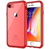 JETech Case for Apple iPhone 8 and iPhone 7, 4.7-Inch, Shock-Absorption Bumper Cover, Anti-Scratch Clear Back, Red