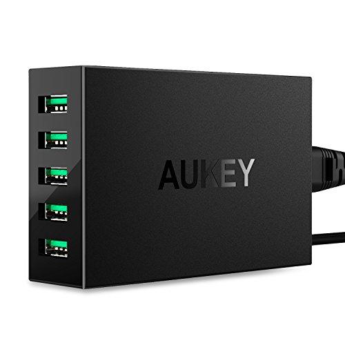 AUKEY USB充電器 50W/10A ACアダプター 5ポート スマホ充電器 携帯急速充電 AiPower搭載 Apple 新型 iPad P...