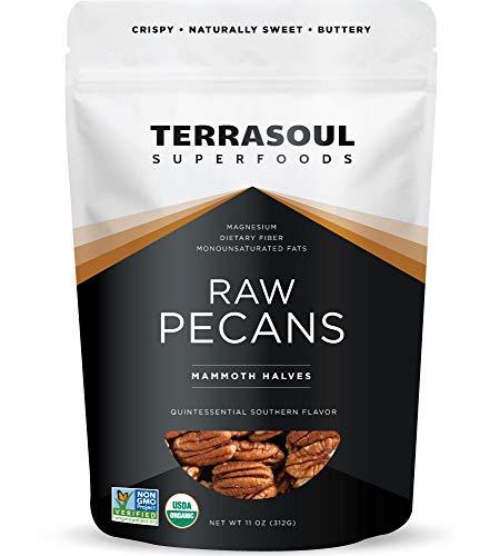 Terrasoul Superfoods Organic Pecans, 11 Oz - Mammoth Halves | Fresh | Raw