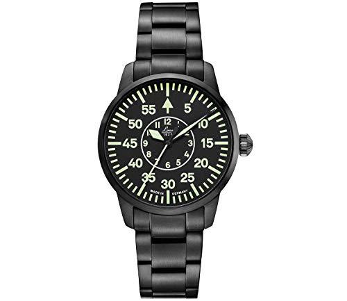 LACO Visby Damen Armbanduhr, Fliegeruhr, schwarzes Edelstahlband, Saphirglas, Ø 36 mm, Automatik, inkl. Etui - 861900