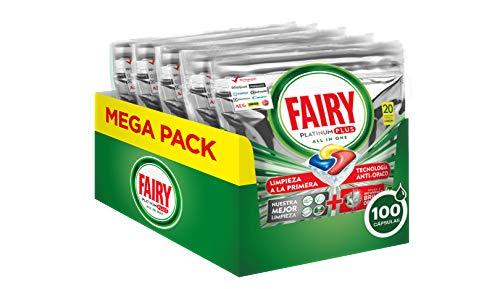 Fairy Platinum Plus Limone 100 Pastiglie per Lavastoviglie, Maxi Formato da 100 Caps di Detersivo