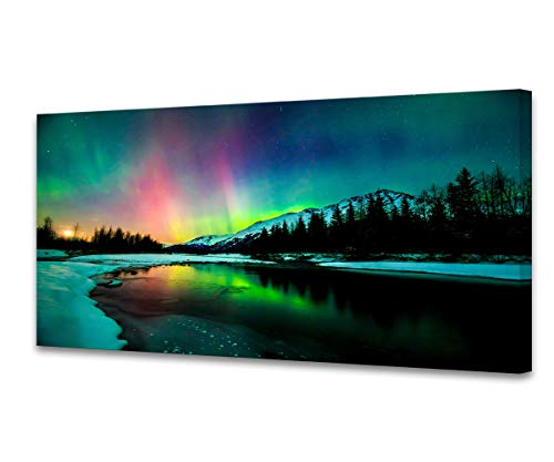 S01962 Wall Art Aurora scenery Painting on Canvas Stretched and Framed Canvas Paintings Ready to Hang for Home Decorations Wall Decor