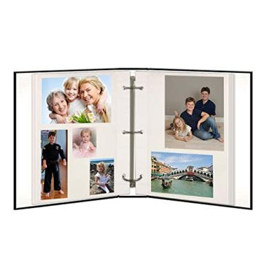 Magnetic-Self-Stick-3-Ring-Photo-Album-100-Pages-50-Sheets-Black