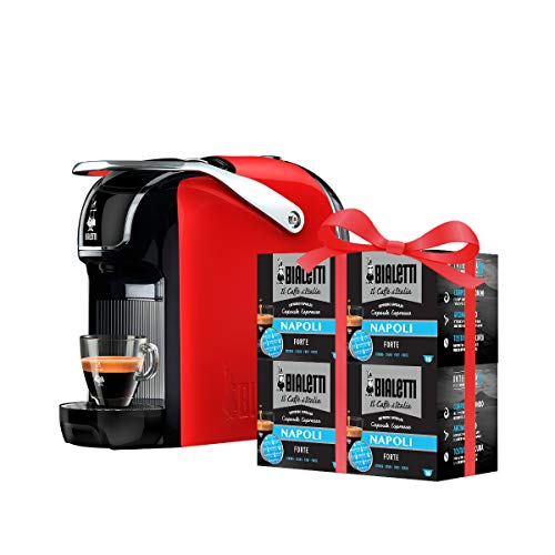 Bialetti Break - Macchina Caffè Espresso a Capsule in Alluminio con sistema Bialetti il Caffè d'Italia, Design compatto, Include 64 capsule in omaggio, Rosso