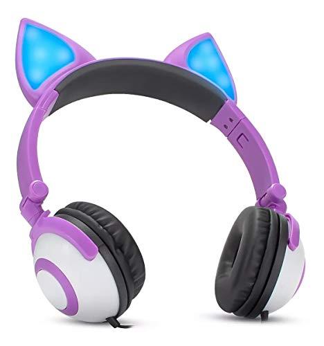 Fone de ouvido com orelhinhas de gato com iluminação led pisca cosplay design fox p2 violeta
