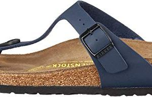 Birkenstock Unisex Adults Gizeh Open Toe Summer T-Bar Birko Flor Sandals – Blue – W9/M7