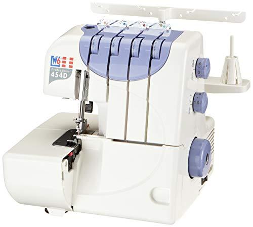 W6 WERTARBEIT N 454D Overlock Nähmaschine (4-Faden, 3-Faden, Rollsaum, Differentialtransport und Abschneidefunktion) weiß