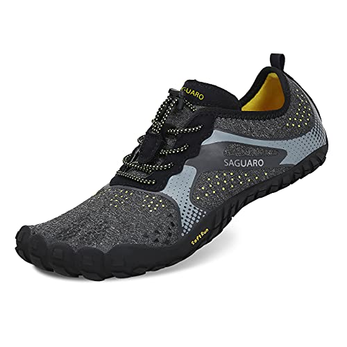 Unisex Wide Toe Minimalist Trail Running Barefoot Mens Womens Outdoor Trainers Fitness Shoes Black 10.5UK