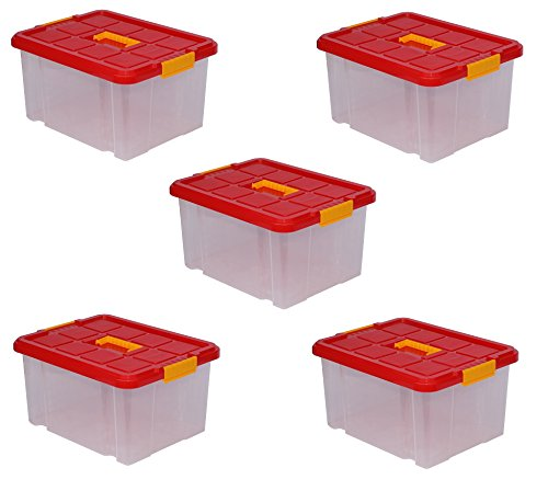 ARTECSIS 5 x Aufbewahrungsboxen aus Plastik 27L 44 x 35 x 24 cm, Drehstapelbox, Eurobox, stapelbar (5, mit Deckel)