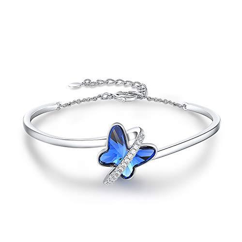 GEORGE SMITH Bracciale Donna Argento Elegante Bracciale Farfalla con 5A Cubic Zirconia - Regalo Festa della Mamma per Mamma / Moglie / Figlia - Confezione regalo inclusa