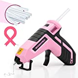 WORKPRO Cordless Hot Melt Glue Gun, Rechargeable Fast Preheating Glue Gun Kit with 20 Pc Premium Glue Stick, Automatic-Power-Off Glue Gun for Art, Crafts, Decorations, Fast Repairs, Pink Ribbon