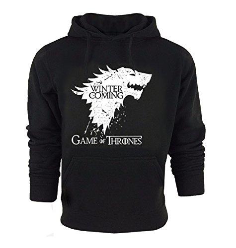 Sudadera - Game of Thrones - Winter is Coming - Casa Stark - Negro - con Bolsillos - Capucha - para Hombres y Mujeres (Talla M)