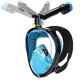 LEMEGO Masque de Plongée Intégrale Masque Snorkeling 180°Vision Panoramique Plein Visage avec Support de Caméra Sport Anti-buée Anti-Fuite Imperméable Tuba Rotatif 360 degrés pour Adultes (S/M)