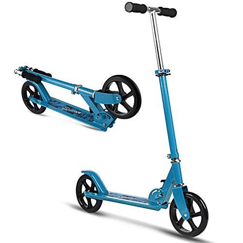 Hikole City Scooter Tretroller Kickscooter Klappbar und Höhenverstellbar mit Big Wheel für Erwachsene und Jungendlichen ab 12 Jahre bis 100kg (Typ2 Blau)