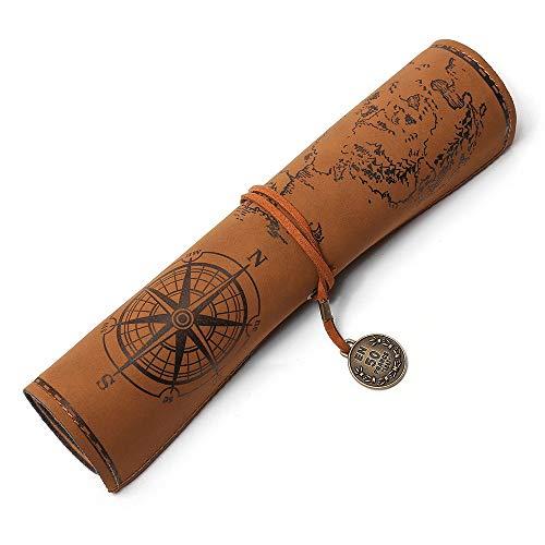 Astuccio in pelle PU, Vintage sacchetto matita, Borsa per cancelleria per ufficio portatile, Borsa per matite con mappa del tesoro misterioso (marrone)