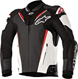 Alpinestars Men's Atem v3 Leather Motorcycle Jacket, Black/White/Red, 52