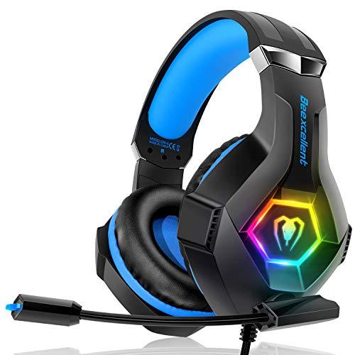 Beexcellent Cuffie Gaming per PS4 Xbox One, Multi-Platform Riduzione del Rumore Cuffie con Microfono Confortevole Stereo Bassi Profondi 3,5 mm LED per PC, Laptop, Mac, Smart Phone, PS3