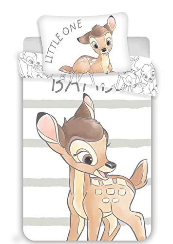 Disney Bambi - Set di biancheria da letto per bambini, 100 x 135 cm + 40 x 60 cm, in cotone