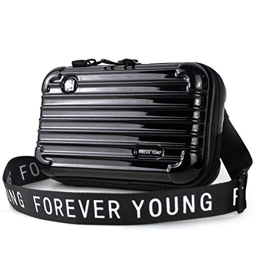 Mn&Sue Fashion Designer Mini Hard Suitcase Wristlet Crossbody Handbag for Women Storage Box Cosmetic Case (Black)