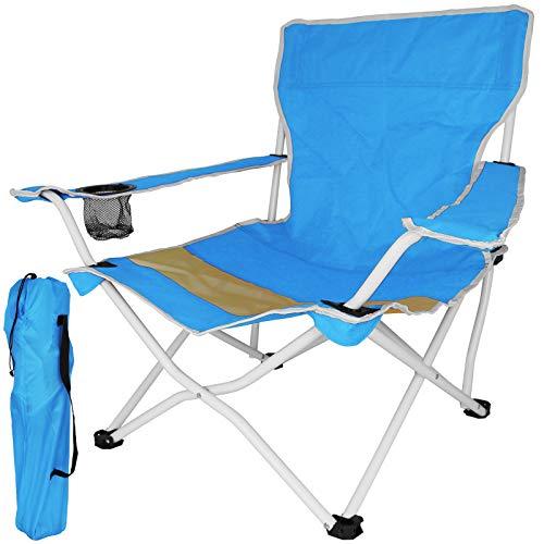 TW24 Klappstuhl Beach mit Farbwahl Gartenstuhl klappbar Campingstuhl mit Armlehnen Getränkehalter Stuhl Strandstuhl Anglerstuhl (Blau)