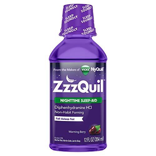 ZzzQuil, Nighttime Sleep Aid Liquid, 50 mg Diphenhydramine HCl, No.1 Sleep-Aid Brand, Warming Berry Flavor, Non-Habit Forming, 12 FL OZ