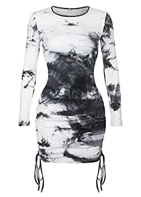 Made of stretch,lighweight and breathable fabric for a comfortable fit Features scoop neck,black and white tie-dye,long sleeve,side ruched,mini length bodycon dress Eye-catching rainbow tie dye color,slim fit to showing your body curve Made for every...