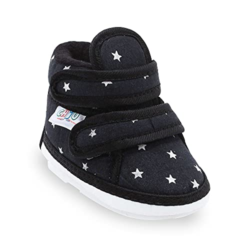 CHIU Chu-Chu Black Shoes with Double Strap for 6-9 Months Baby Boys & Baby Girls