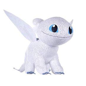 HTTYD Dragons, como Entrenar a tu Dragón - Peluche Furia Luminosa (Light Fury) 60cm Color Blanco con Brillante Calidad…