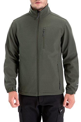 TRAILSIDE SUPPLY CO. Mens Lightweight Winter Softshell Fleece Jackets and Coats, Olive, XL