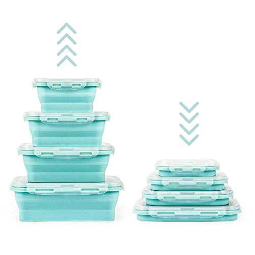 Lot de 4 boîtes alimentaires pliables en silicone réutilisables sans BPA...
