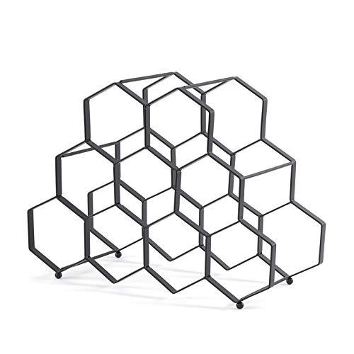 DESIGN DELIGHTS - Portabottiglie da Vino, in Metallo, 36 x 27 x 26 cm, 9 Bottiglie, Colore: Nero, cantinetta