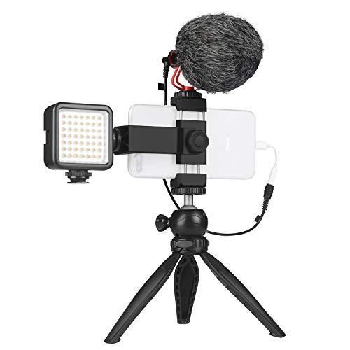 スマートフォンビデオマイクキット マイク、LEDライト、スマホホルダー、ミニ三脚付き 垂直&水平 vlog YouTube 映画製作用 iPhone 7 8 X XS MAX 11 Pro Samsung Huawei 対応