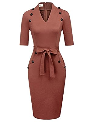 Features: Casual, Summer Style, Short Sleeve, Belted Bodycon Dress decoration 12pcs Buttons in the front, Back Slit, Concealed Zipper This pencil dress is Simple but Well Tailored: Special Slit Cut at the base of hemline, makes you feel more comforta...