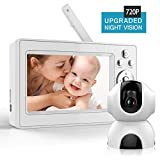 [Updated 2019] Bable Baby Monitor with Camera, 5 Inch 720P Video Baby Monitor with Infrared Night Vision, Remote Control/Pan 360˚ & Tilt 90˚/ Two-Way Talk/Sound Alarm/Up to 900 feet