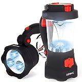 Duronic Hurricane Lampe - Campinglampe mit 3 LED Taschenlampe - 10 LED Laterne mit Dynamo - Aufladbar mit Kurbel und USB - 300mAh Akku - Rot blinkendes Notsignal - Mit Griff und Haken