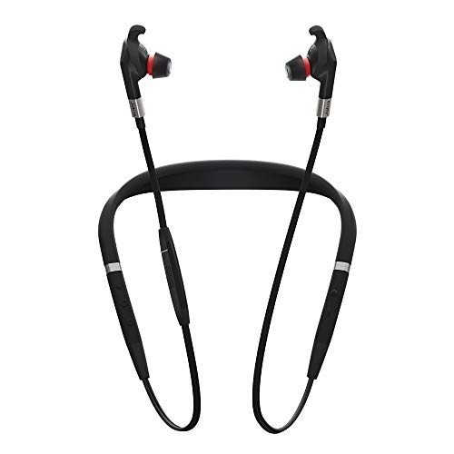 Jabra Evolve 75e MS Wireless In-Ear Kopfhörer - Microsoft zertifizierte Earbuds mit langer Akkulaufzeit - Vibrierender Nackenbügel und Busylight - Schwarz