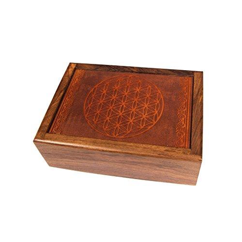 lillybox - Joyero de madera con diseño de flor de la vida, hecho a mano