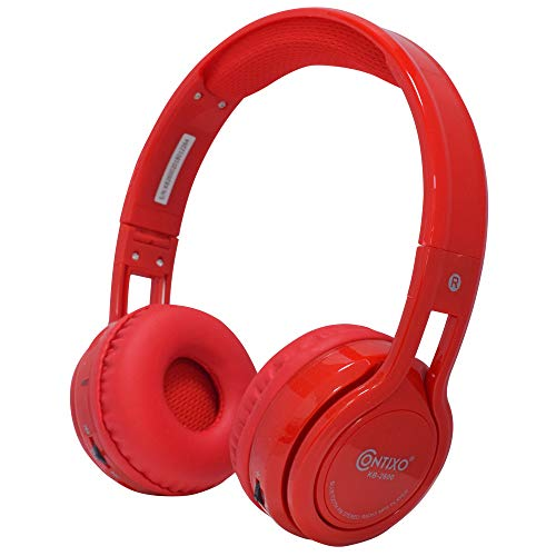 Contixo KB-2600 Over Ear Headphones - Wireless Bluetooth Headphones Kids Safe - 85dB with Volume Limited with Long Lasting Battery - Built-in Mic - Micro SD Card Slot - FM Stereo Radio (RED)