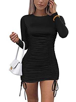 Feature: Sexy,Elegant,Long Sleeve,Ruched,Drawstring,Round Neck,Solid Color,Stretchy Fabrics:90% Polyester, 10% Spandex. Good elasticity,Soft and comfortable to wear,Breathable,Good for the skin. Size:S=USA 4-6,M=8-10,L=12-14,XL=16-18, Size dimension ...