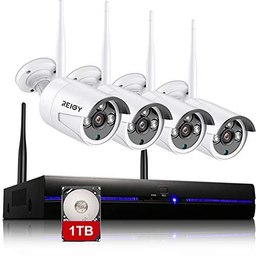 REIGY 2MP Kit de cámaras de vigilancia Wifi para exteriores con 1TB HDD, 8CH NVR + 4x1080P IP66 Cámara de vigilancia a prueba de agua, Cámara inalámbrica Grabación de audio Visión nocturna, Sensor de movimiento Blanco