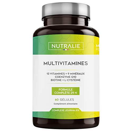 Multivitamines et Minéraux 29 Nutriments Essentiels   Complexe de Vitamines A, B, C, D, E, K, Biotine, L-Cystéine, Coenzime Q10 et 9 Minéraux   60 Gélules   NUTRALIE