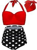 Maillot de Bain Vintage Retro Polka Bikini Taille Haute à Armatures 2 Pièces...