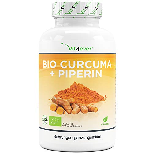 Curcuma - 360 Kapseln - 4560 mg (Kurkuma + schwarzer Pfeffer) pro Tagesdosis - Mit Curcumin & Piperin - Indisches & laborgeprüftes Kurkumapulver - Hochdosiert - Vegan
