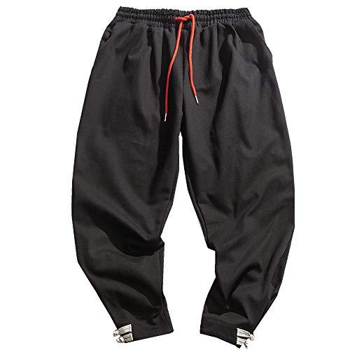 NOBRAND Algodón y Cáñamo Deportes Pantalones Casual Sueltos Cierre Harun Pantalones de los Hombres Pantalones de Pierna Ancha.
